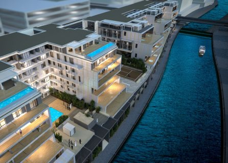 شقة دوبلكس مفروشة بالكامل ذات تراسات على القناة المائية مباشرةً في أبوظبي