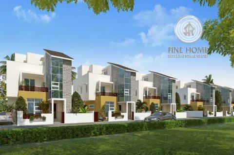 للبيع | مجمع فخم 4 فلل على زاوية وشارعين | مدينة شخبوط أبوظبي