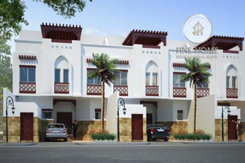 للبيع | مجمع 3 فلل مغطاة بالحجر والرخام الطبيعي | مدينة شخبوط أبوظبي