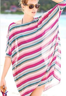 Luxury Stripe Bat Sleeve Translucent Smock