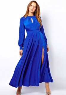 Hollow-out Split Pure Color Long Dress
