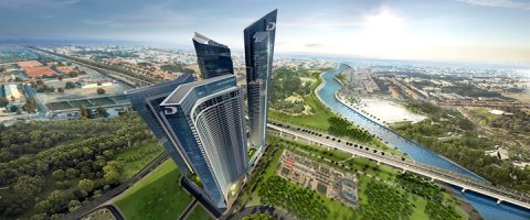 حلّق عالياً فوق طريق الشيخ زايد وقناة دبي المائية شقق من غرفتي نوم