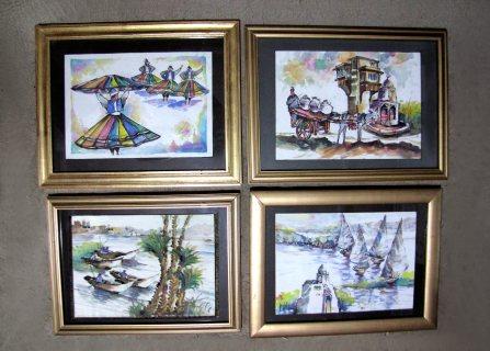 8 لوحات رسم صغيره لفنان مصري شهير