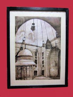 لوحه فنيه قديمه لمسجد السلطان حسن بمصر
