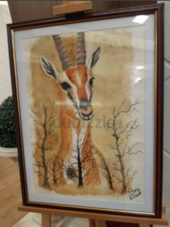 Gazelle canvas,  watercolor