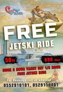 Book 2 Hour Yacht get 1/2 Hour Jet ski Free