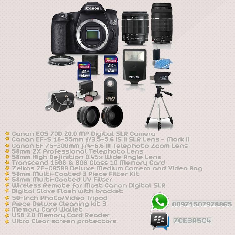 كاميرا كانون 70d الجديدة + 4 عدسات + اكسسورات وكماليات للكام بسع